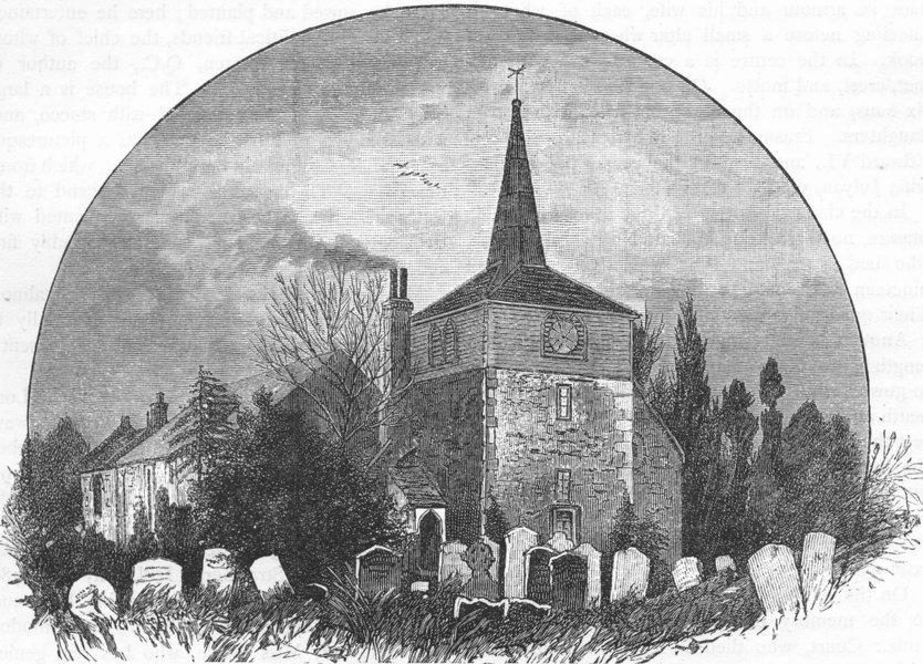 Associate Product LONDON. Thames Ditton Church. Surrey 1888 old antique vintage print picture