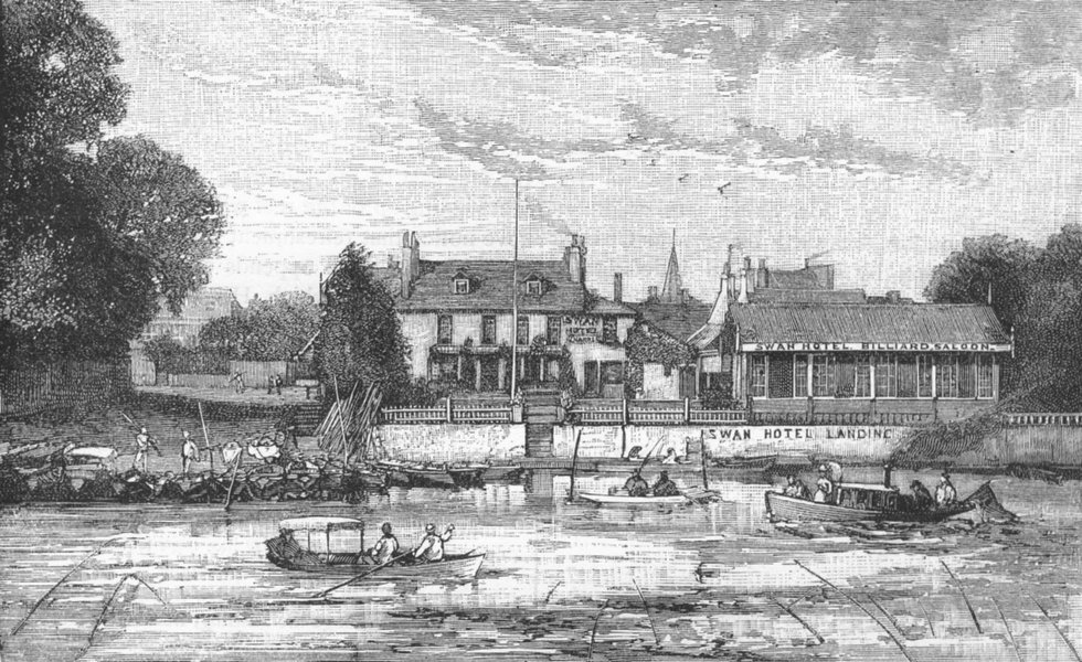"""Associate Product LONG DITTON THAMES DITTON. """"The Swan,"""" Ditton 1888 old antique print picture"""