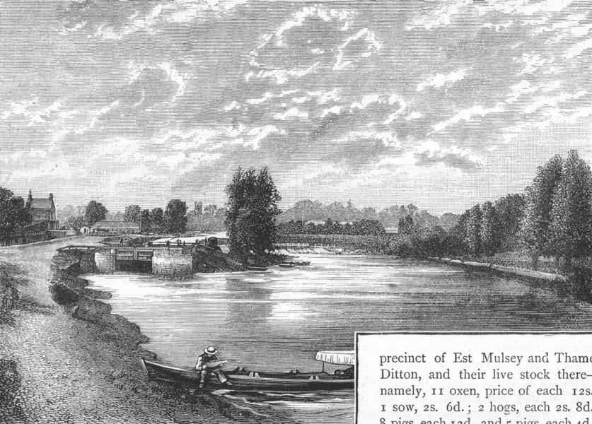 Associate Product MOLESEY. The Thames at Molesey. Surrey 1888 old antique vintage print picture