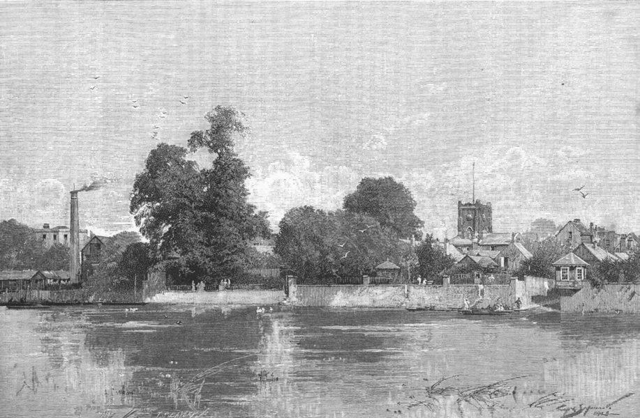Associate Product KINGSTON-ON-THAMES. Kingston, from the river. Surrey.London 1888 old print