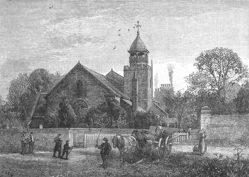 Associate Product LONDON. Petersham Church 1888 old antique vintage print picture