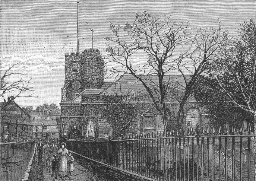 Associate Product RICHMOND UPON THAMES. Richmond Church 1888 old antique vintage print picture