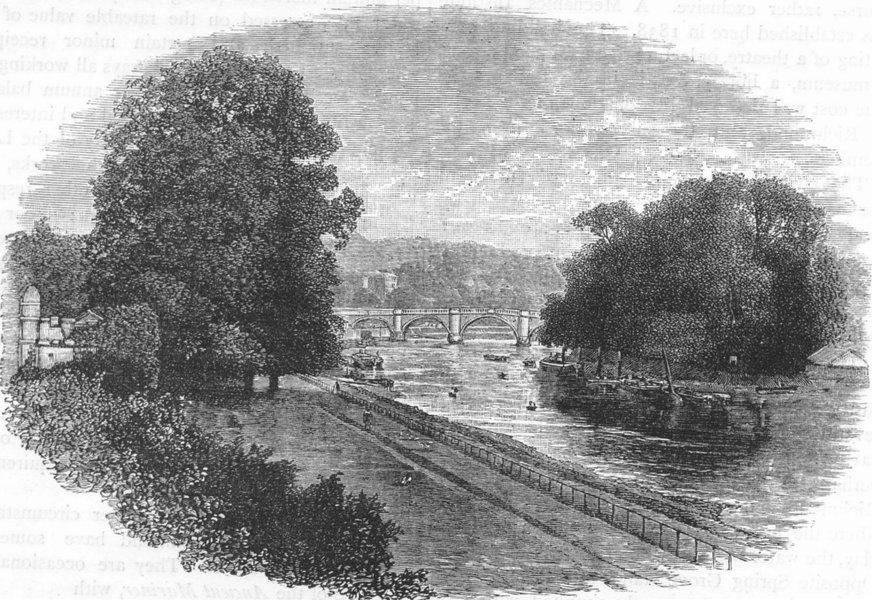 Associate Product RICHMOND UPON THAMES. Richmond Bridge 1888 old antique vintage print picture