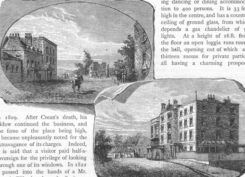 """Associate Product RICHMOND UPON THAMES. The Old """"Star and Garter"""" 1888 antique print picture"""