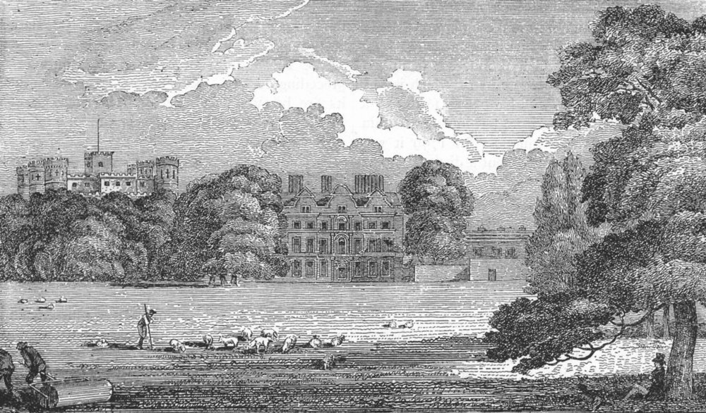 Associate Product KEW. Old Palace (Dutch House) showing George III's Castellated Palace 1888
