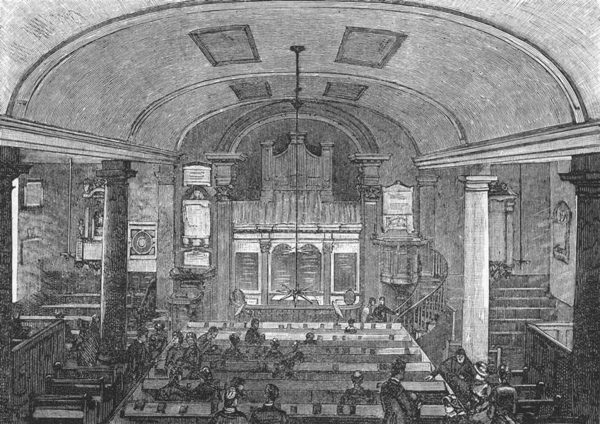 Associate Product KEW. Kew Church-Interior 1888 old antique vintage print picture
