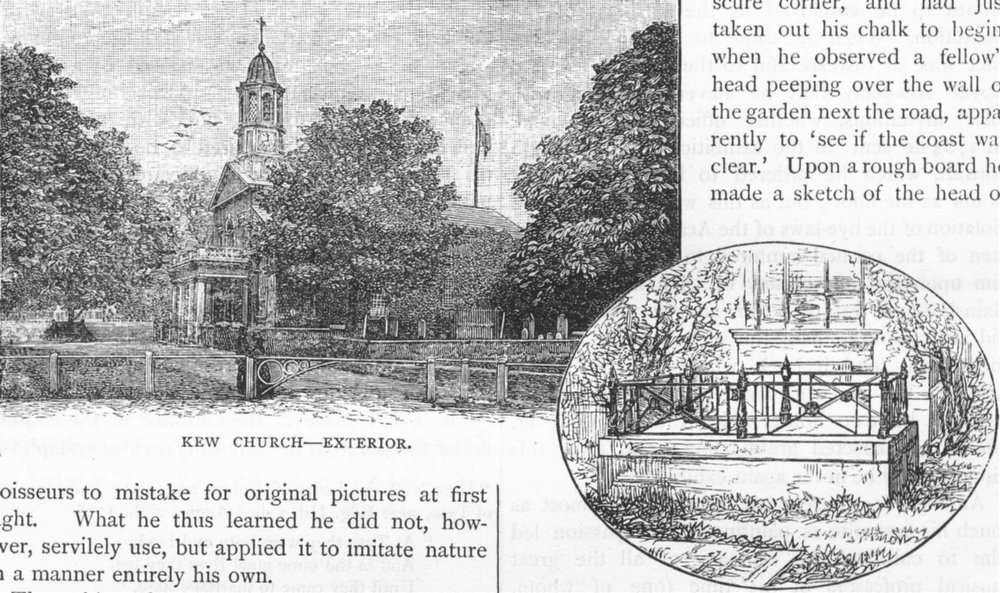 Associate Product KEW. Kew Church-Exterior; Gainsborough's tomb 1888 old antique print picture