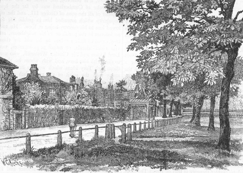 Associate Product KEW. Cambridge Cottage, Kew Green 1888 old antique vintage print picture