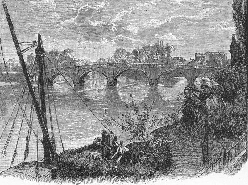 Associate Product KEW. Kew Bridge 1888 old antique vintage print picture