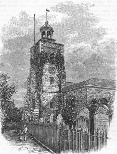 Associate Product MORTLAKE. Mortlake Church 1888 old antique vintage print picture