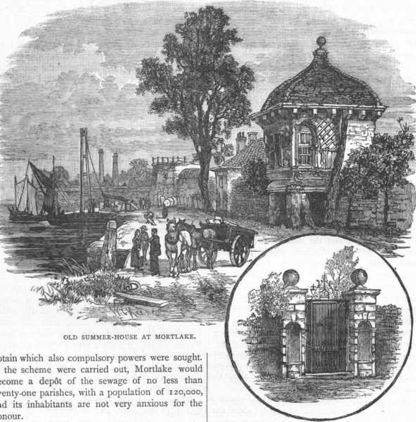 Associate Product MORTLAKE. Old Summer-house; Old Gateway, Cromwell House 1888 antique print