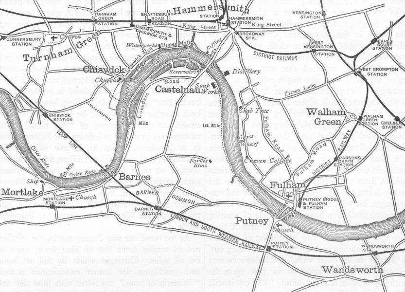 Associate Product THE UNIVERSITY BOAT-RACE. The Boat-race Course. Oxbridge. Map. London 1888