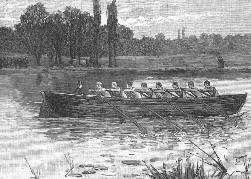Associate Product THE UNIVERSITY BOAT-RACE. The First Boat used by Cambridge. Oxbridge 1888