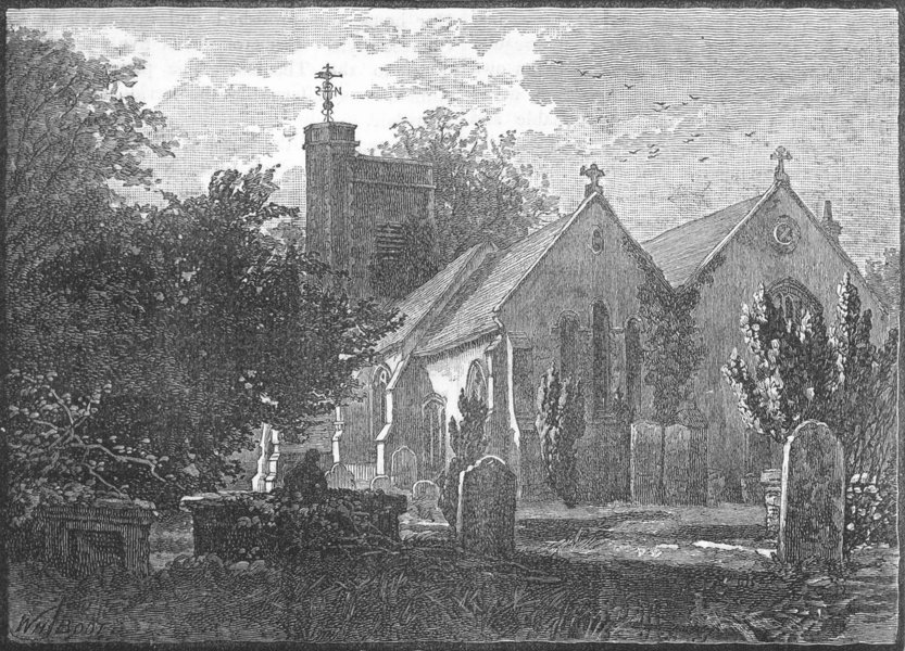 Associate Product BARNES. Barnes Church 1888 old antique vintage print picture