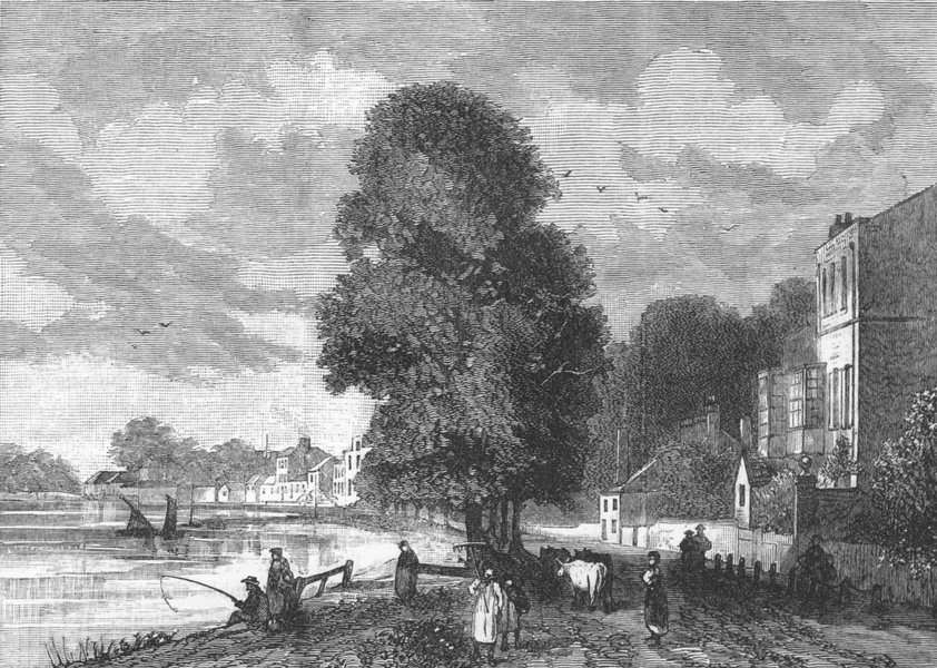 Associate Product BARNES. Barnes Terrace in 1823 (from a print) 1888 old antique picture