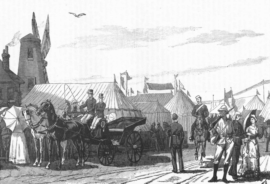 """Associate Product WIMBLEDON. The Volunteer Camp, Wimbledon-""""Outside the cottage"""" 1888 old print"""