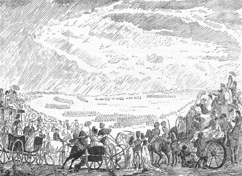 Associate Product WIMBLEDON VOLUNTEER CAMP. Volunteer review in 1798 (After Rowlandson) 1888