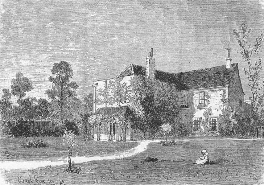 "MERTON. ""Merton Abbey"" 1888 old antique vintage print picture"