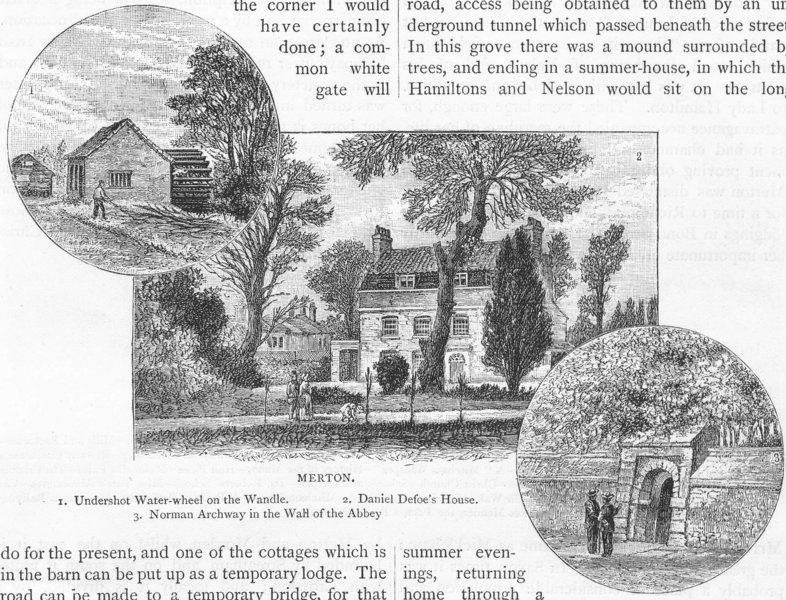 Associate Product MERTON. Waterwheel, Wandle; Daniel Defoe's House; Norman Archway, Abbey 1888