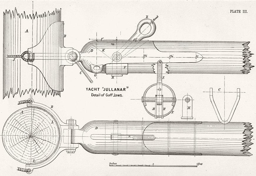 Associate Product BOAT PLAN. Gaff Jaws & Fittings. 'Jullanar' Detail 1891 old antique print