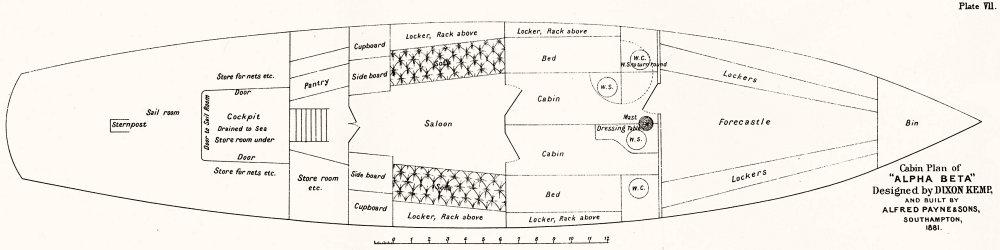 Associate Product BOATS. Cabin Plan. 200-tons 'Alpha Beta', Dixon Kemp 1891 old antique print