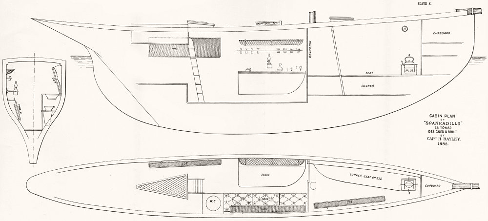 Associate Product BOATS. Cabin Plan. 'Spankadillo'(3 tons)Bayley 1891 old antique print picture
