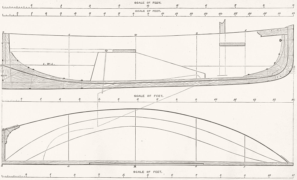 Associate Product BOATS. Centre-board for Rowing & Sailing plan 1891 old antique print picture
