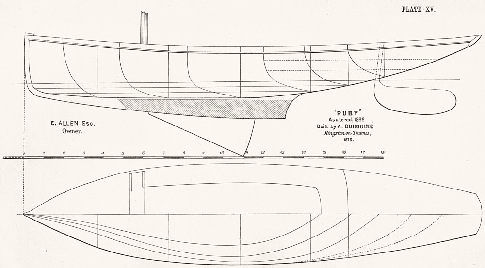 Associate Product BOAT PLAN. 'Ruby'(as altered, 1888)Burgoine 1891 old antique print picture