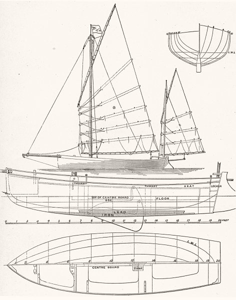 Associate Product SAILING. Centre-Board Boat plan. 'Zythum' 1891 old antique print picture