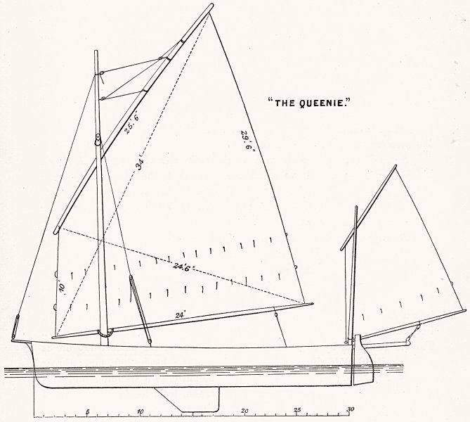 Associate Product BOATS. Large balance lug sail. 'The Queenie' 1891 old antique print picture