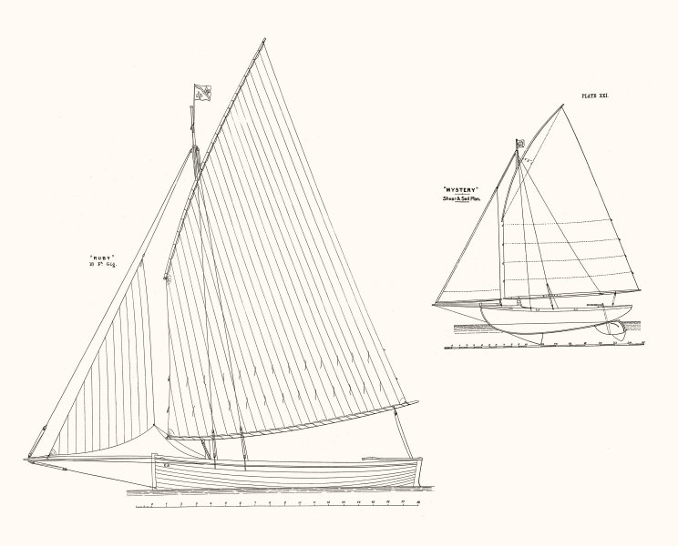 Associate Product SAIL PLANS. 'Ruby' 18 Ft Gig; 'Mystery' Sheer plan 1891 old antique print