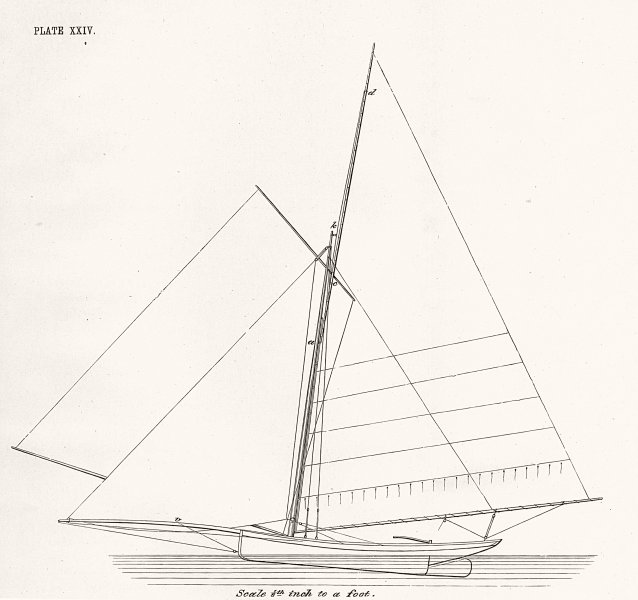 YACHTS. Sail Plan, 'Le Lison' French Centre-board 1891 old antique print