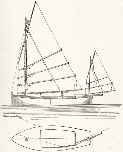 Associate Product BOATS. Chinese Lug Sail. Main & Mizen Rig plan 1891 old antique print picture