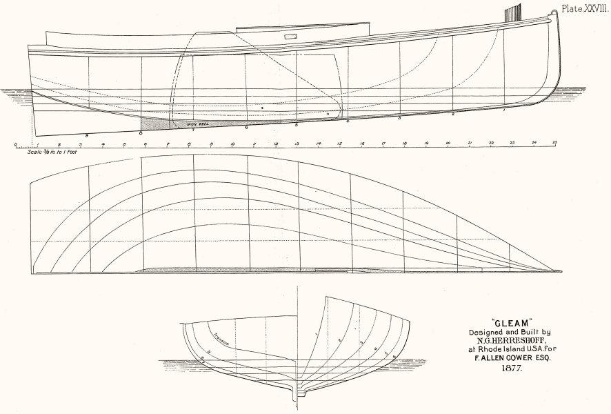 Associate Product BOAT PLAN. Cat Boat 'Gleam', Herreshoff, Rhode Island 1891 old antique print