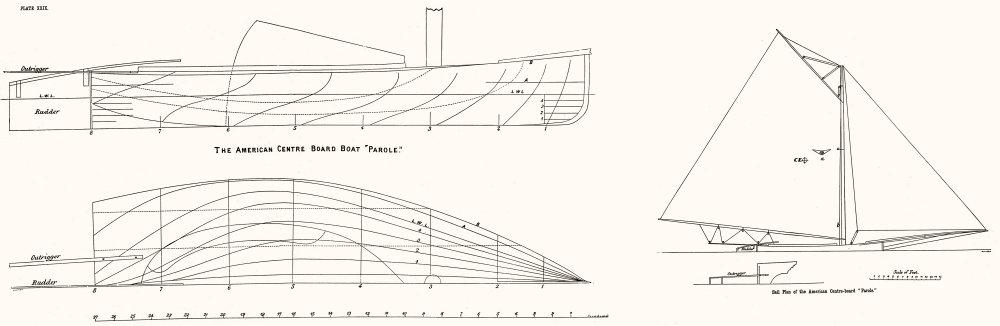 Associate Product SAIL PLAN. American centre board 'Parole'-LARGE 1891 old antique print picture