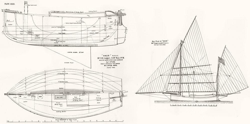 YACHTS. 'Haze' 18' Lugger, 3 Tons; sail plan, Shoreham 1891 old antique print