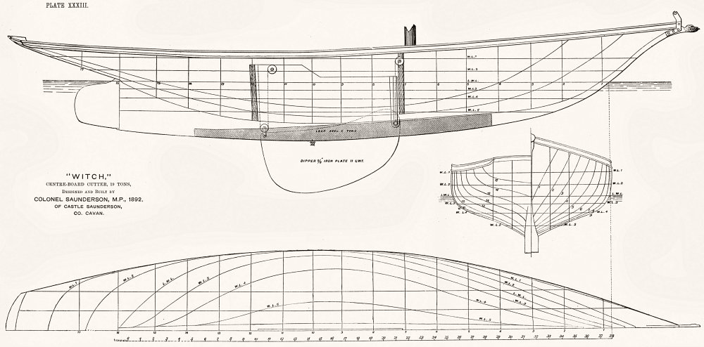 Associate Product BOAT PLAN. Cutter. 'Witch'19 Ton, Saunderson 1891 old antique print picture
