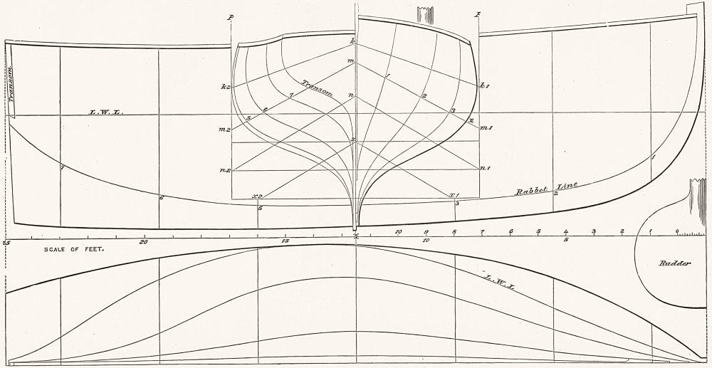 Associate Product BOAT PLAN. Itchen. 'Wild Rose' 25ft 1891 old antique vintage print picture