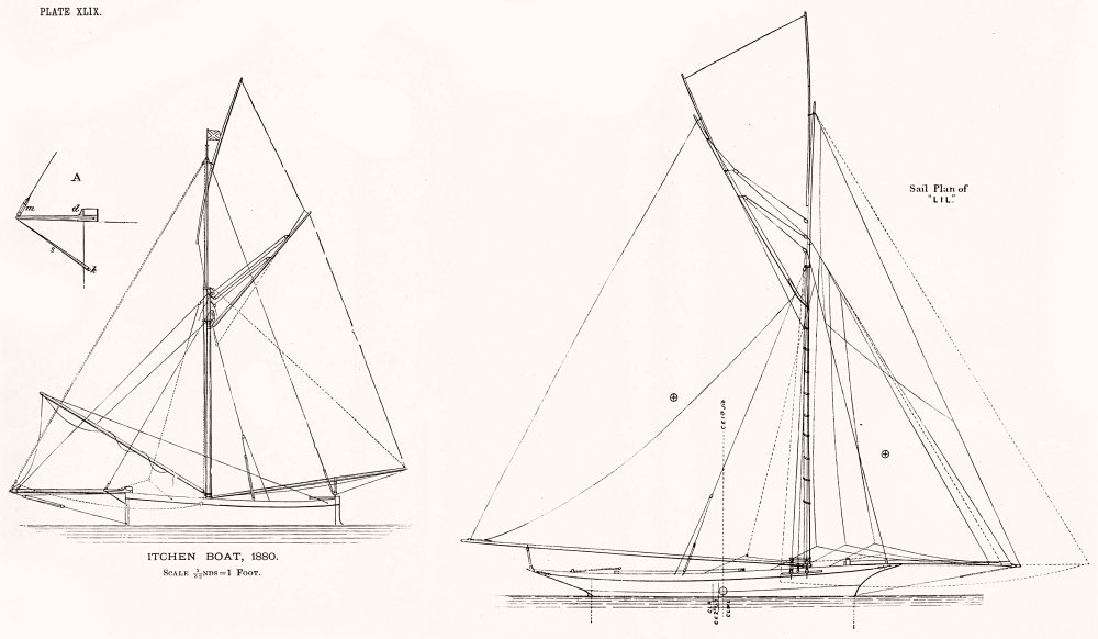 Associate Product YACHTS. Itchen Boat, 1880; Sail plan of 'Lil' 1891 old antique print picture