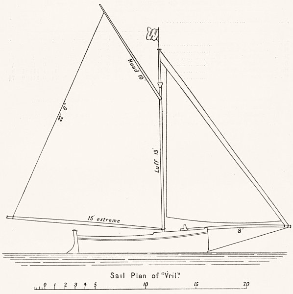 Associate Product YACHTS. Itchen Boats. Sail plan of 'Vril' 1891 old antique print picture