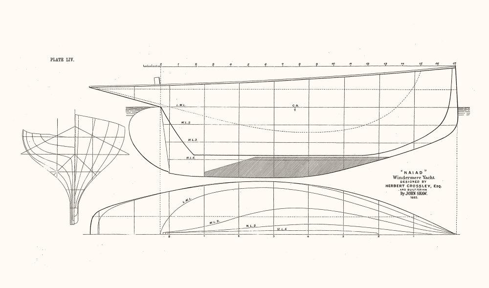 Associate Product WINDERMERE YACHT PLAN. 'Naiad'Herbert Crossley, Shaw 1891 old antique print