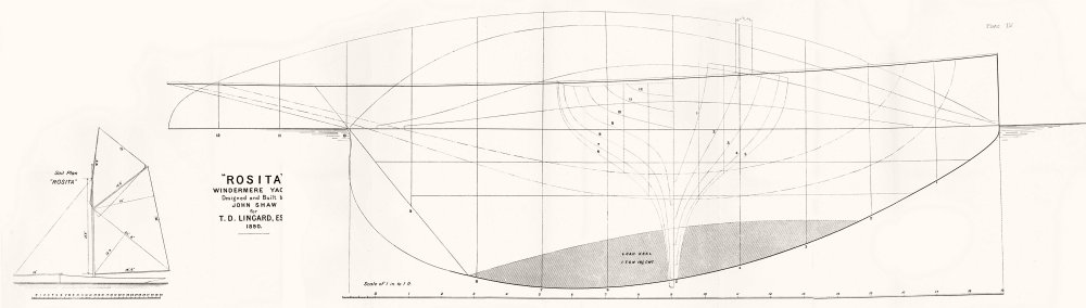 Associate Product WINDERMERE YACHT. 'Rosita'. Sail plan, Lingard-LARGE 1891 old antique print