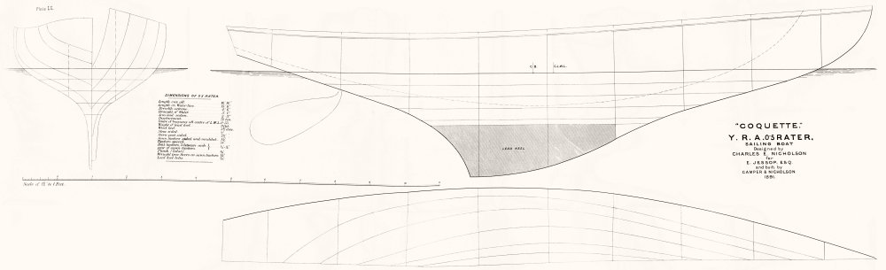 Associate Product BOAT PLAN. 0'5 Rater. 'Coquette'; Nicholson-LARGE 1891 old antique print