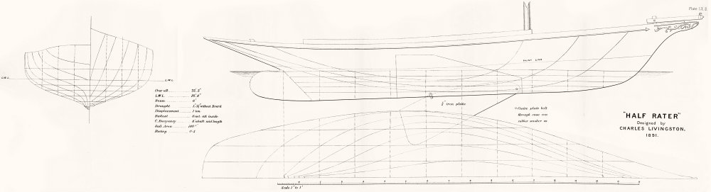 Associate Product SAIL BOAT PLAN. 0'5 'Half rater', Livingston-LARGE 1891 old antique print
