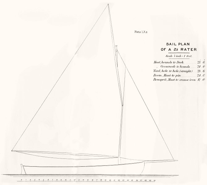 Associate Product YACHTS. Sail Plan of 2-5 Rater 1891 old antique vintage print picture