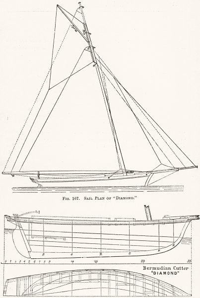 Associate Product YACHTS. Bermudan Cutter 'Diamond'; sail plan 1891 old antique print picture