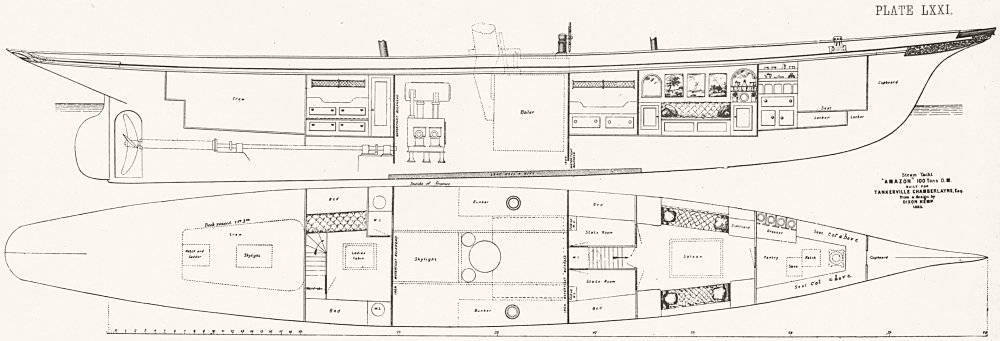 Associate Product STEAM YACHT CABIN PLAN. 'Amazon', Chamberlayne 1891 old antique print picture
