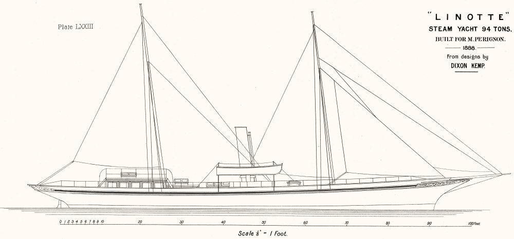 Associate Product STEAM YACHT. 'Linotte' 94 tons, sail plan, Perignon 1891 old antique print