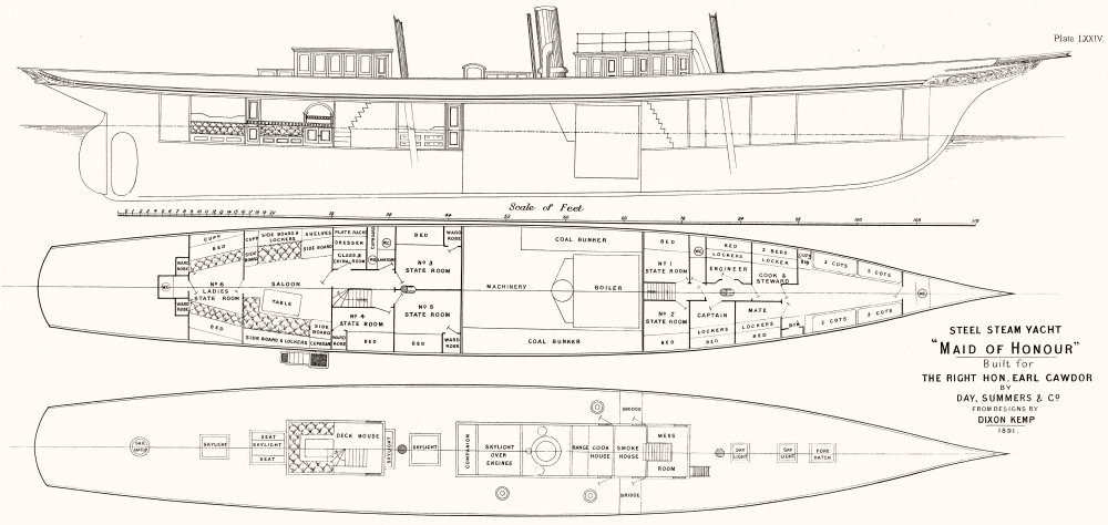 Associate Product STEAM YACHT CABIN PLAN. 'Maid of Honour'Earl Cawdor 1891 old antique print