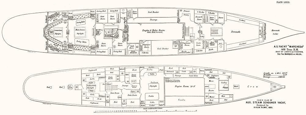 Associate Product STEAM YACHT CABIN PLAN. 'Marchesa', Lobnitz, Renfrew 1891 old antique print